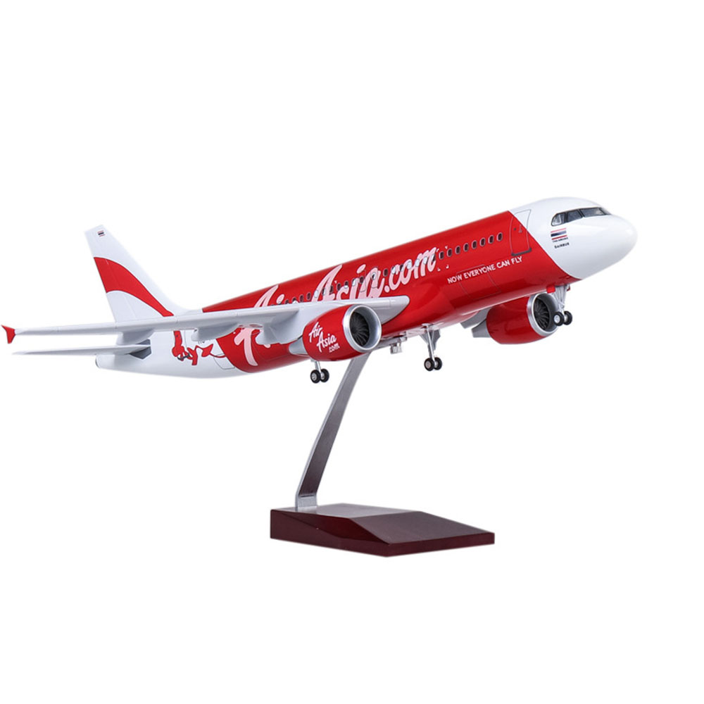 1/80 extension model Wheeled with light 47cm AirAsia Airbus A320neo simulation passenger aircraft model Collectible Gift Display image