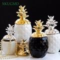 Керамическая банка для хранения золотого и серебряного цветов  геометрическая форма  скульптура ананаса  украшение для офиса  украшение дл...