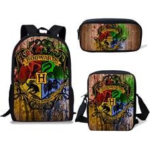 NOISYDESIGNS детские школьные рюкзаки для девочек-подростков; для мальчиков 3 шт./компл. Волшебная Школа печати ранец рюкзак Mochila Escolar Mujer