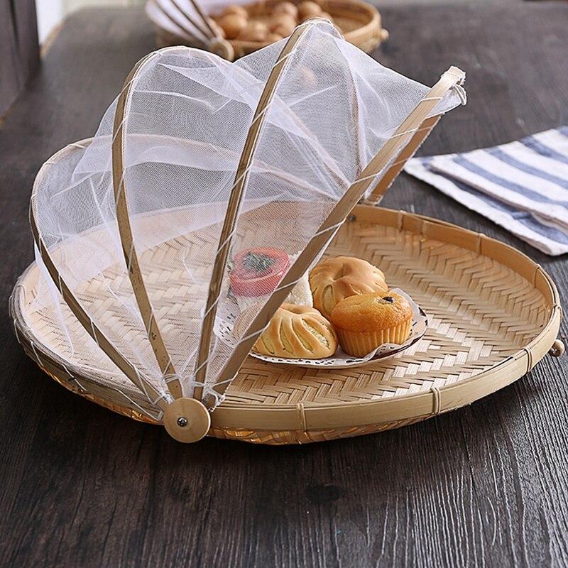 1Pc Prova Bug Mão Tecida Cesta Handmade Cesta de Frutas Legumes Cesta de Piquenique À Prova de Poeira Cobrir o Pão Cesta De Vime Com Gaze