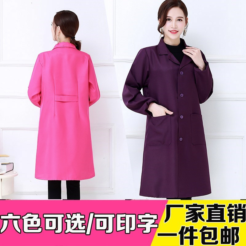 Casual Cooking Four Seasons Work Clothes Women's Overclothes Long Single Layer Breathable Mid-length Work Cooking Spring And Sum