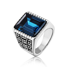 Luxury Big Precious Stone Jewelry Rings Vintage  High Quality Titanium Steel Casting Ring For Man Free Shipping