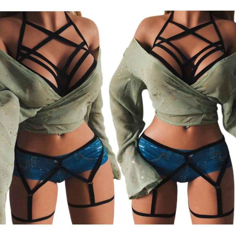 Áo Thun Body Dây Áo Lót Nữ Gợi Tình Caged Đeo Chéo Cupless Áo Ngực Rỗng Ra Thiết Kế Quai Quần Gen Nịt Bụng Gothic Clubwear