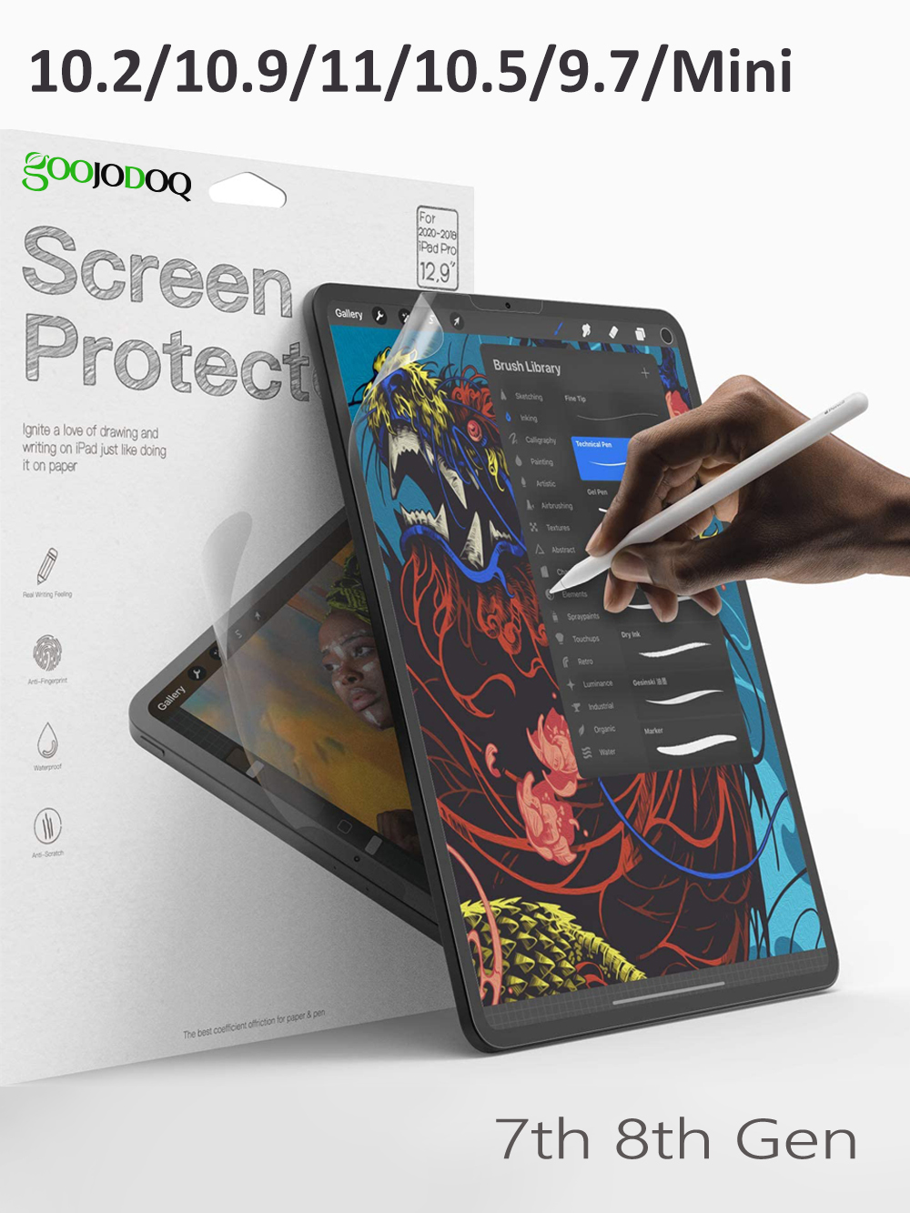 GOOJODOQ Like Writing on Paper Screen Protector for iPad Pro 11 10.2 10.5 iPad Air 4
