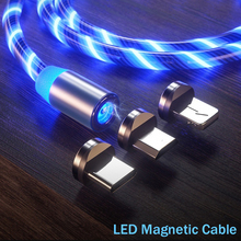 LED Flowing Magnetic USB Cable Micro usb Type C Bright glowing Charger cord 1M Fast Charging For iPhone 7 X Samsung Xiaomi