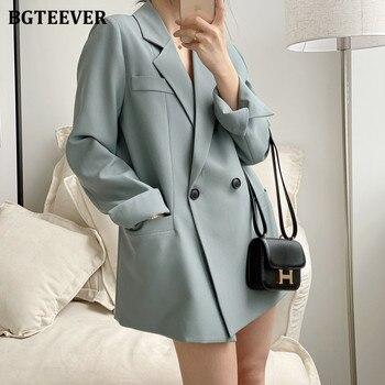 BGTEEVER 우아한 노치 칼라 풀 슬리브 여성 블레이저 더블 브레스트 느슨한 여성 Outwear 2020 가을 겨울 정장 재킷