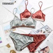 TERMEZY New Women Underwear Wire Free satin bra thin 3/4 cups Bra and Panty Set Hollow Lingerie Women Brassiere Bralette