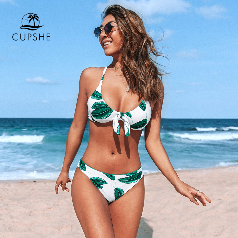 CUPSHE Leaves Print Bowknot Low-waist Bikini Sets Sexy Cut Out Tank Swimsuit Two Pieces Swimwear Women 2020 Beach Bathing Suit
