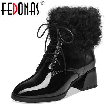 FEDONAS Winter Warm Plush Women Quality Patent Leather Ankle Boots Elegant High Heels Party Office Shoes Woman Short Boots