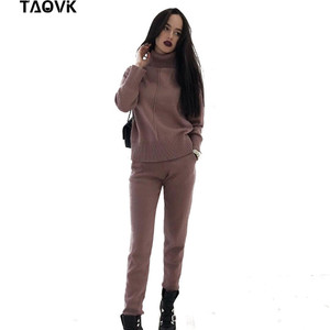 Image 1 - TAOVK Womens knitted Suits Spring sweater set Mid Line Turtleneck Pullover Sweater Pants two pieces Sets warm Jogging Costumes