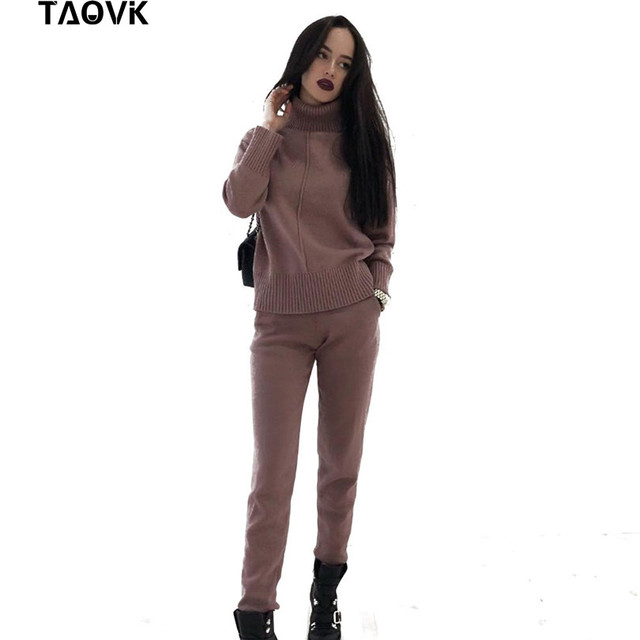 TAOVK Womens knitted Suits Spring sweater set Mid Line Turtleneck Pullover Sweater Pants two pieces Sets warm Jogging Costumes
