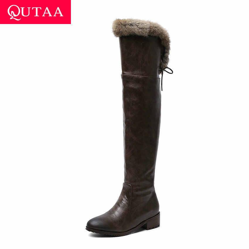 QUTAA 2020 PU Deri Yuvarlak Ayak Dantel Kadar Fermuar Kadın Ayakkabı Moda Orta Topuk Sıcak Kürk Kış Diz Üzerinde çizmeler Boyutu 34-43