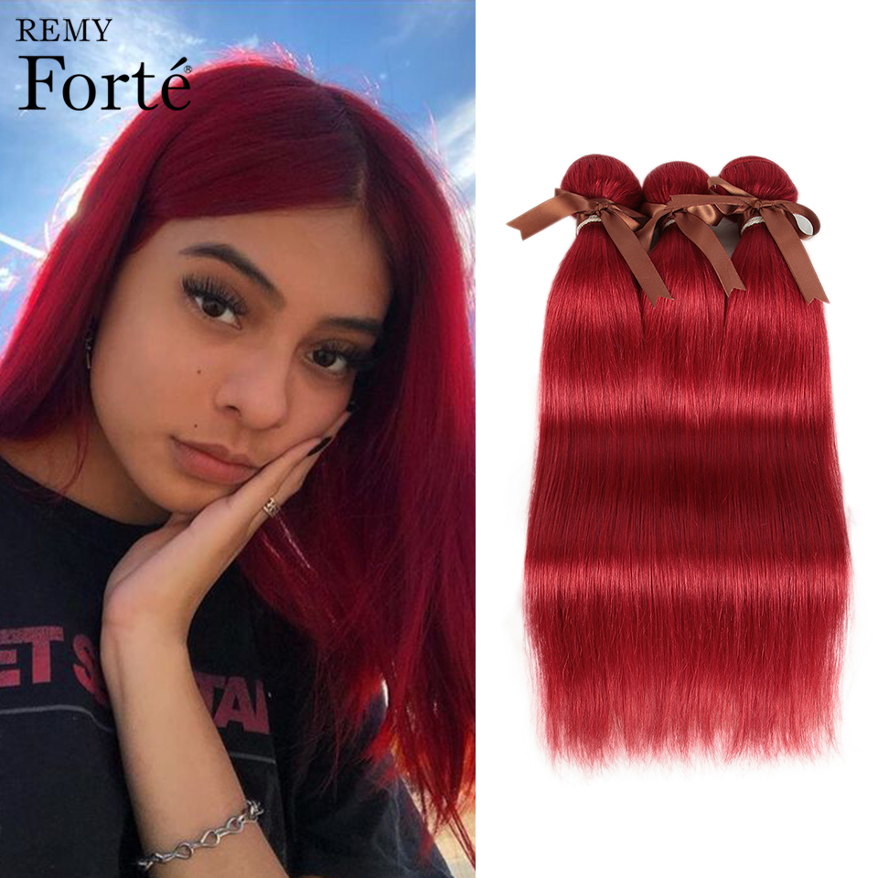 Remy Forte Straight Hair Bundles Red Brazilian Hair Weave Bundles 100% Human Hair Bundles 1/3/4 Bundles Straight Hair Bundles