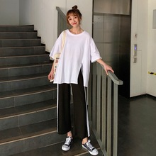 Summer Wide Leg Pants Casual Loose Waist Pants Loose Belt Trousers Suit Side Split T-shirt Side Stripe Wide Leg Pants Casual Set tie side striped cami top with wide leg pants