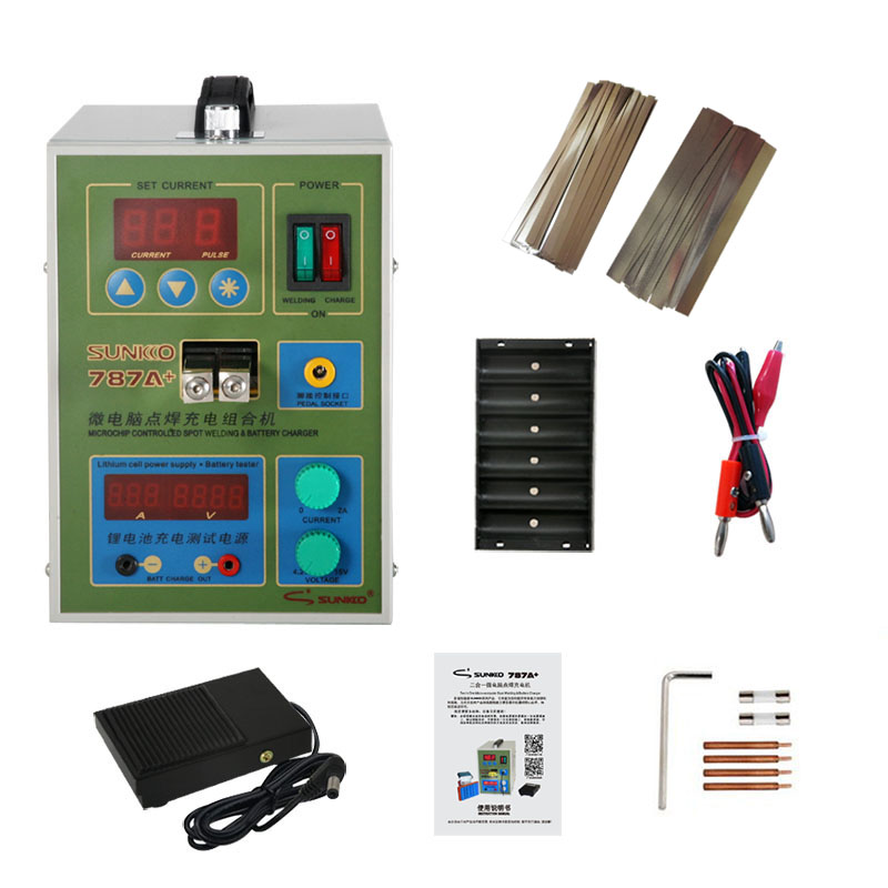 SUNKKO 787A + Spot Welder 18650 Lithium Battery Test And Charging 2 In 1 Double Pulse Precision Spot Welder