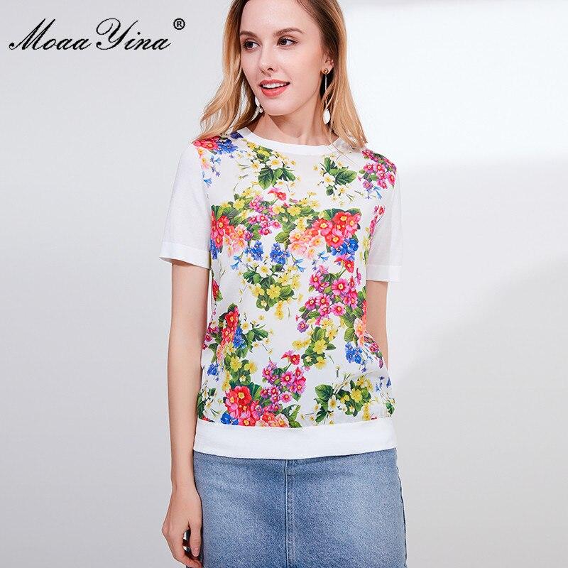 Image 5 - MoaaYina Designer Autumn Short Sleeve Black Knitting Tops Womens  Elegant Floral Print Silk Sweater Tees PulloversPullovers   -