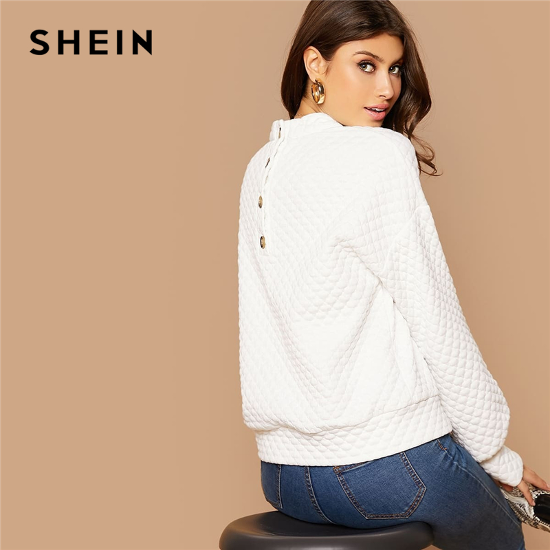 SHEIN White Button Back Lantern Sleeve Textured Pullover Women Tops Autumn Stand Collar Long Sleeve Basic Casual Sweatshirts 2