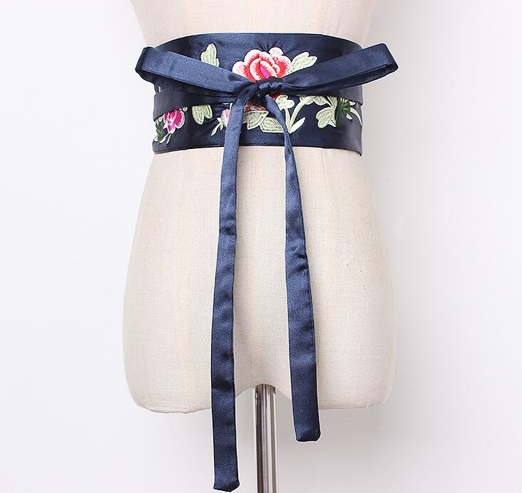 Women's Runway Fashion Flower Embroidery Satin Cummerbunds Female Dress Corsets Waistband Belts Decoration Wide Belt R1918