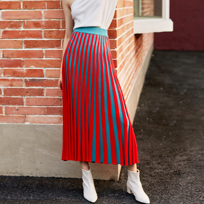AEL Spring Autumn New Red Warm Knitted Long Skirt Women Dusty Blue Stripe Straight Skirts Elastic Band Ladies