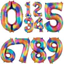 1 шт 40 дюймов Радужный цветной номер фольгированные шары 0 1 2 3 цифры Гелиевый шар принадлежности для дня рождения Юбилей Декор