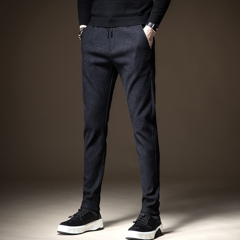 Winter Men Elastic Waist Slim Thick Casual Trousers Fashion 2020 Warm Stretch Straight Pants High Street Pocket Business Pants