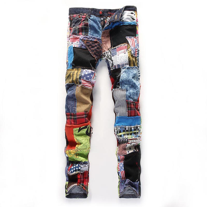 HOT Men Long Pants Patchwork Stitching Denim Trousers Slim Fit Casual   Jeans   for Spring 19ING