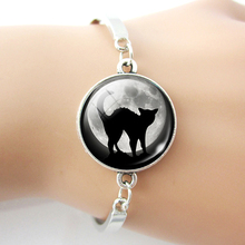 Black Cat Bracelet Gothic Full Moon Jewelry Silver Color Bracelet Bangle Men Women Fashion Accessories недорого