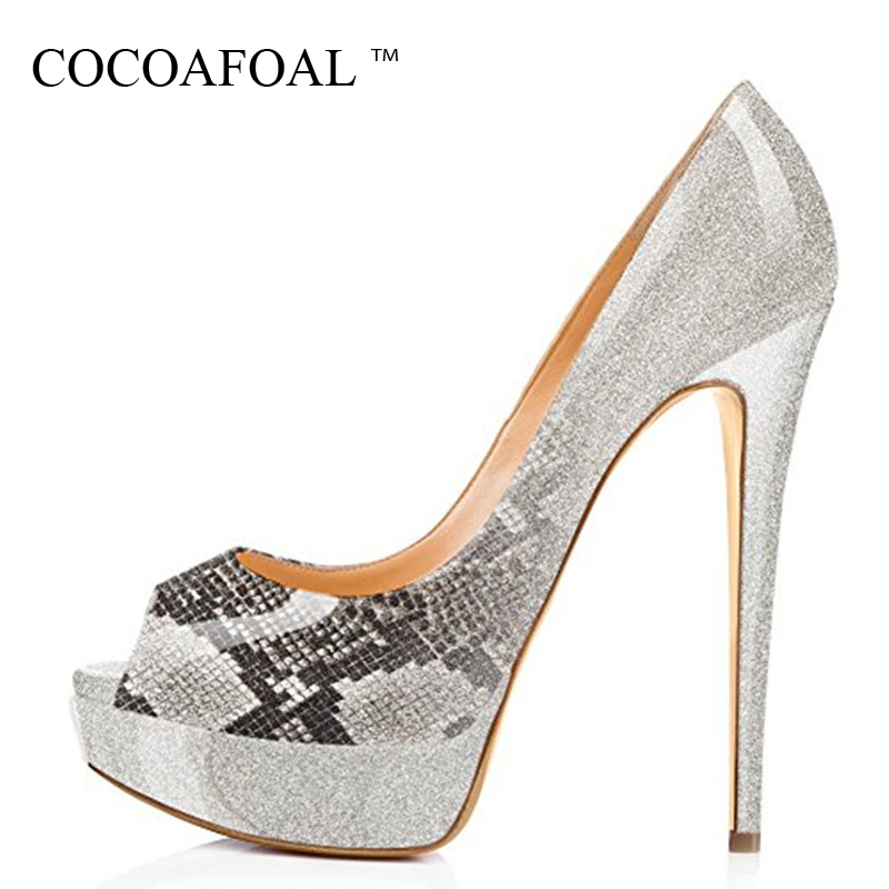 COCOAFOAL Woman Peep Toe Pumps Plus Size 34 43 <font><b>Sexy</b></font> Pole Dance <font><b>Fetish</b></font> High Hooks <font><b>Shoes</b></font> Pink Gray Platform Open Teen Hook Sandals image