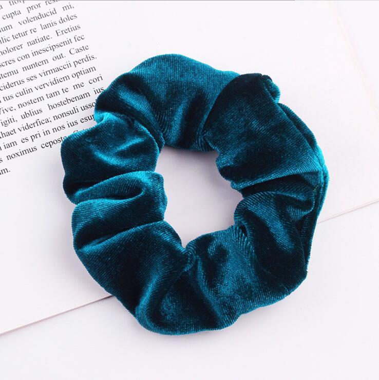 33 цвета, корейские Бархатные резинки для волос, эластичные резинки для волос, одноцветные женские головные уборы для девушек, заколки для волос с конским хвостом, аксессуары для волос - Цвет: Peacock Blue