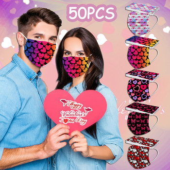 50PCS Adult Disposable Valentine's Day Hearts 3Ply Protective Face Mask mascarillas Party Supplies Outdoor mascarillas Party image