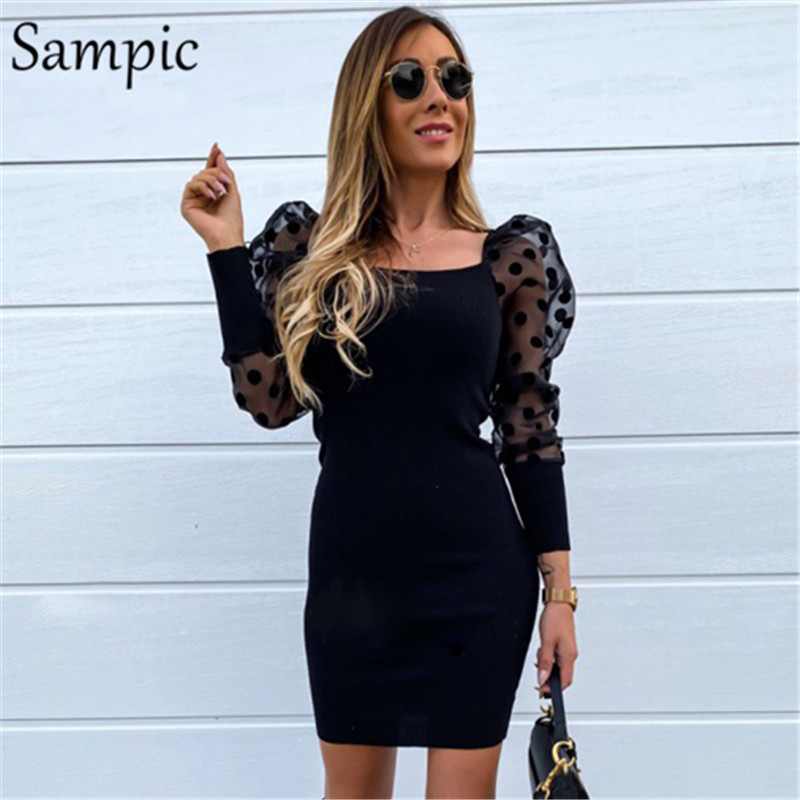Sampic Woman Polka Dot Turtleneck Casual Party Puff Mesh Long Sleeve Dress Bodycon Mini Knitted Sweater Dress Autumn Winter