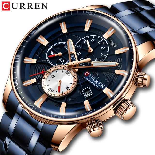 CURREN Mens Watches Quartz Watch with Stainless Steel Band Chronograph Luminous hands Clock Male Wristwatch Mens Fashion