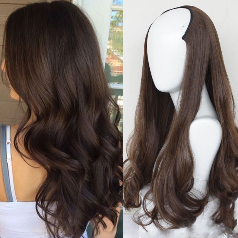 LUPU Long Wave Half Headgear Synthetic Hair Wig Natural Fake False Hair Extensions Hairpieces For Women High Temperture Fiber