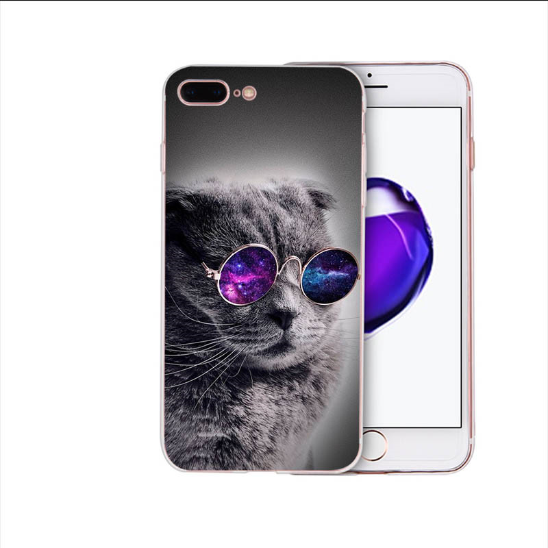 HOUSTMUST Soft case for iphone x 7 8 6s 6 plus xr xs max cover Cute glasses cat character cartoon pattern 5s 5 10 se shell Coque in Half wrapped Cases from Cellphones Telecommunications