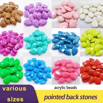 Nowe wszystkie rozmiary i kolory Teardrop akrylowe koraliki cukierki kolorowe koraliki do tworzenia biżuterii naszyjnik DIY rzemiosło akcesoria do koralików tanie i dobre opinie CN (pochodzenie) Luźne dżety strasy Naszywka 6x10 8x13 10x14 13 x18 18x25 Szkło trim Bags DO ODZIEŻY buty