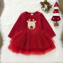 Emmababy 2020 Xmas Red Deer Dress For Toddler Kid Baby Girl Christmas Long Sleeve Cotton+ Lace Tutu  Casual Dress Party Clothes