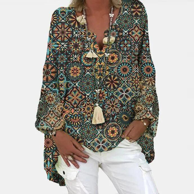 Vintage Floral Print Long Sleeve Blouse Shirt 2021 Spring Fashion V Neck Pullover Tops Ladies Casual Plus Size Streetwear Blusa 4