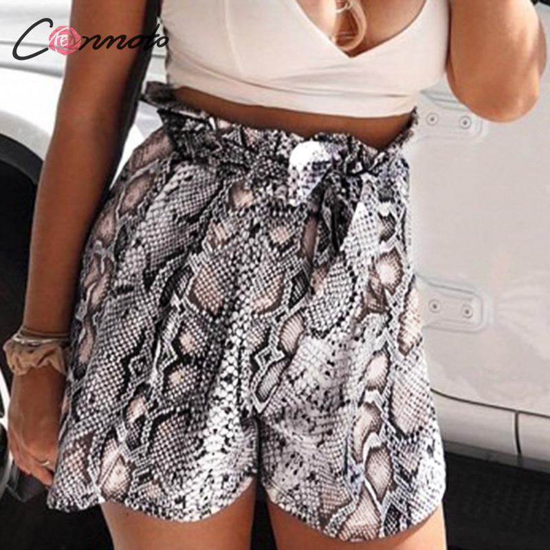 Conmoto Sexy Snaked Print Beach Summer Women Shorts 2020 High Fashion Shorts Casual Bow Belt Casual Ruffles Shorts