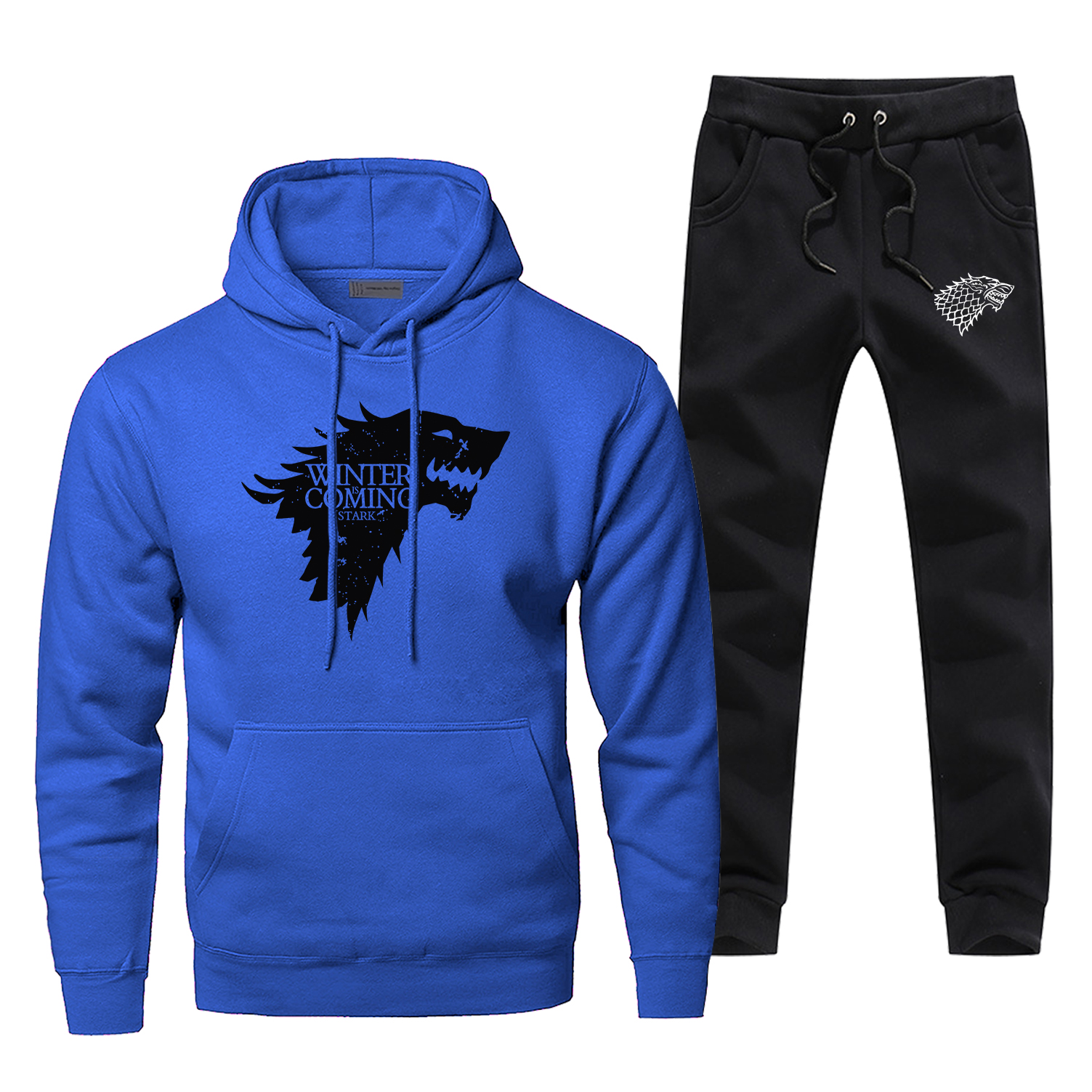 Game Of Thrones Wolf Print Men's Full Suit Tracksuit Winter Is Coming House Stark Sweatpants Fashion TV Show Fleece Warm Hoodies