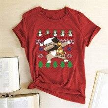 Women Funny Christmas T Shirt Dog Dancing Printed Crewneck Short Sleeve Graphic Tee Shirt Femme Christmas Top Party Style TShirt