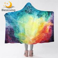 BlessLiving Space bluza z kapturem koc Galaxy Sherpa koc z polaru kosmiczny koc do noszenia koc z kapturem dla dorosłych dzieci tanie tanio Tkanina z mikrofibry Przenośne Stałe Wiosna jesień Sherpa Fleece Jakość Printed Hooded Blanket Drukowane Nowoczesne