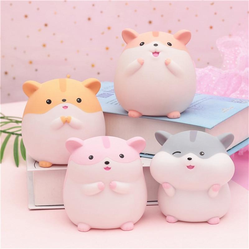 Zakka Cartoon Cute Night Lamp Resin Hamster Money Box Pippi Rat Night Light Girl Bedroom Bedside Home Decor Christmas Gifts