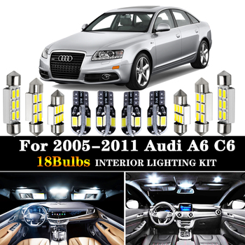 цена на 18pcs White Canbus Car LED Light Bulbs Interior Package Kit For 2005-2011 Audi A6 C6 Map Dome Trunk Door License Plate Lamp