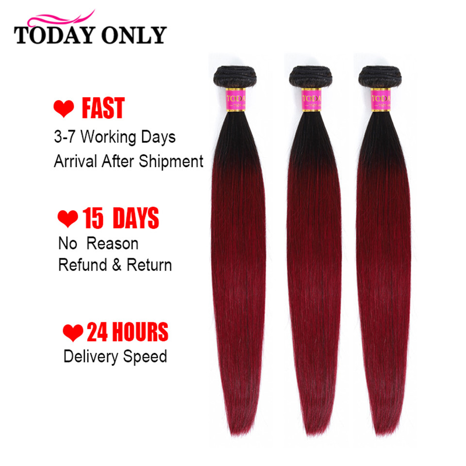 TODAY ONLY Brazilian Hair Weave 3 Bundles Burgundy Straight Hair Bundles Ombre Human Hair Bundles 1b 99J Hair Extension Remy