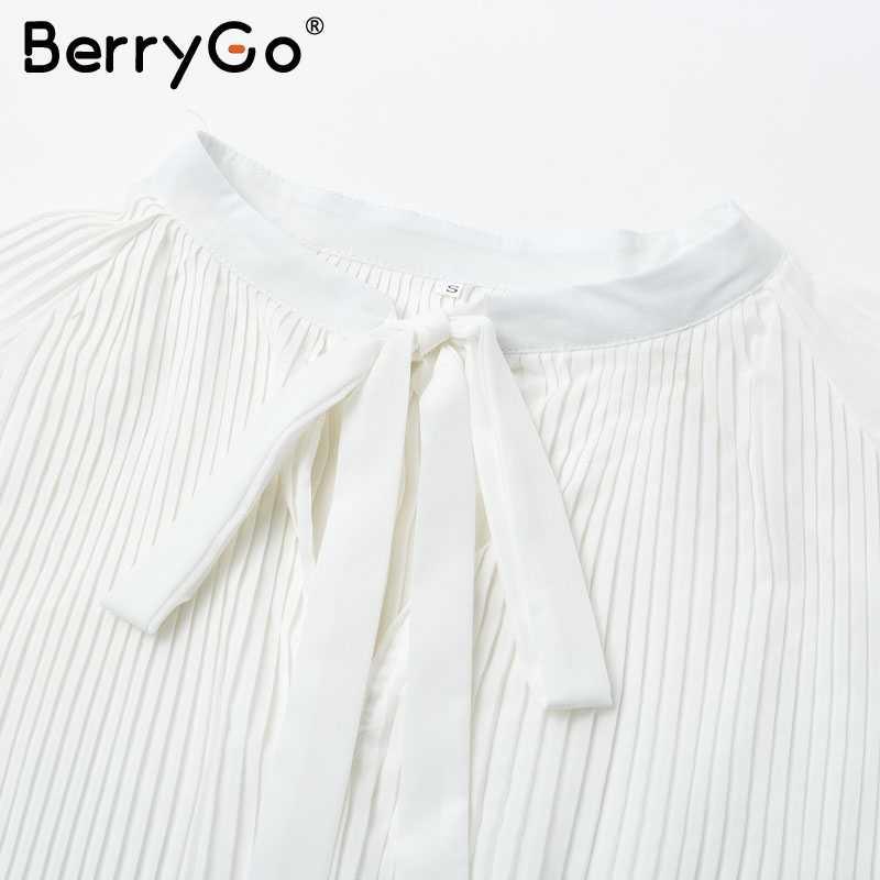 BerryGo Zarif pilili ofis bayanlar bluz gömlek Uzun kollu lace up kadın bluz tops Sonbahar kış artı boyutu bluzlar kadınlar