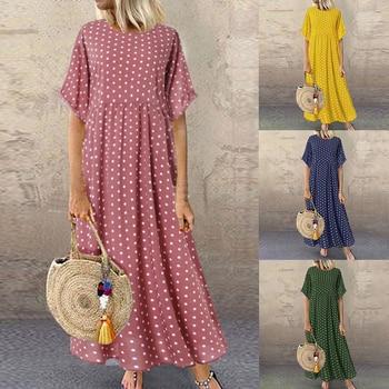 цена на Laamei Summer Short Sleeve Polka Dot Printed Long Dress Vintage Women Cotton Linen Dresses Female Kaftan Vestido Femme Sundress