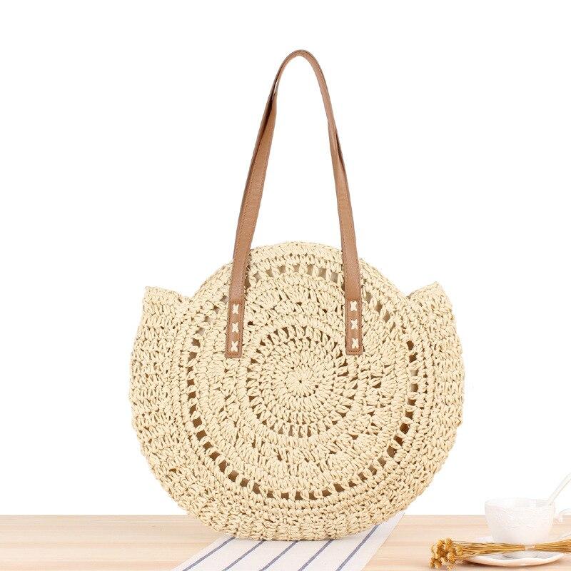 2020 été sacs de paille ronde pour femmes rotin sac à bandoulière à la main tissé plage sacs à main femme Message sac à main fourre-tout sac 7