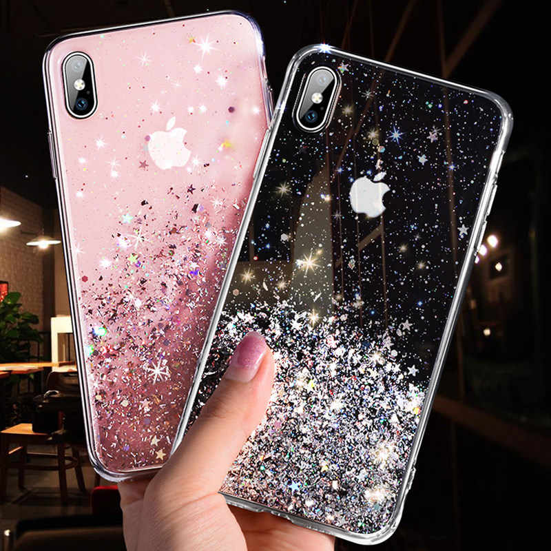 Glitter Shiny Star Clear Case For iPhone 11 Pro X XR XS MAX 7 8 6s For Samsung S10 S9 S8 Plus Note 10Pro 8 9 A10A20A30 A40A50A70