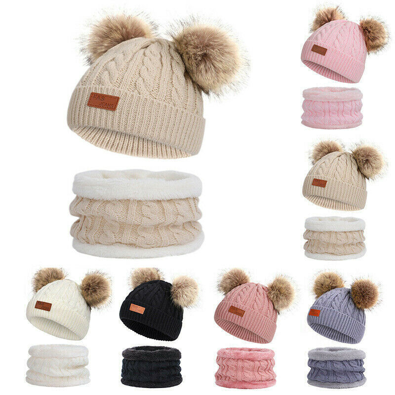 Cute 2PCS Kids Winter Outdoor Chunky Knit With Double Fur Pom Pom Cute Beanie Hat Set