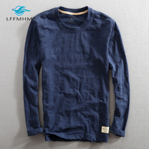Image 3 - Männer Frühling Herbst Mode China Stil Vintage Einfarbig Bambus Baumwolle Langarm Oansatz T shirt Männlichen Casual Dünne T T shirts